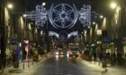 Christmas lights and tree Union street