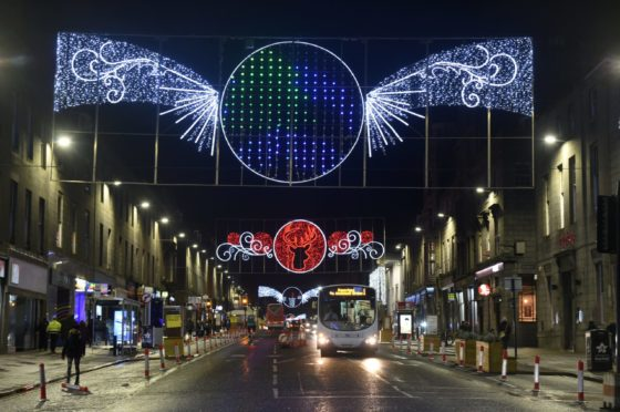 Christmas lights on Union Street, Aberdeen. Picture by Paul Glendell
