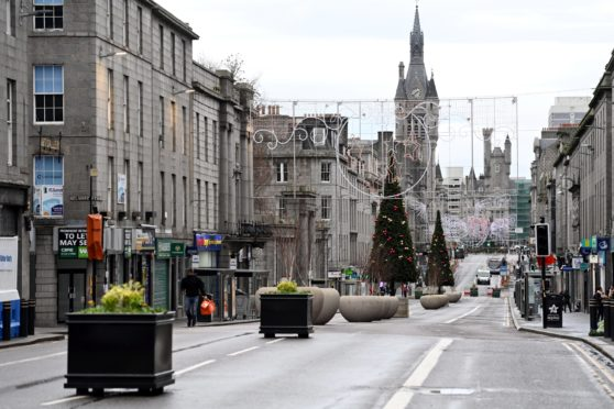 A deserted Union Street on Boxing Day.