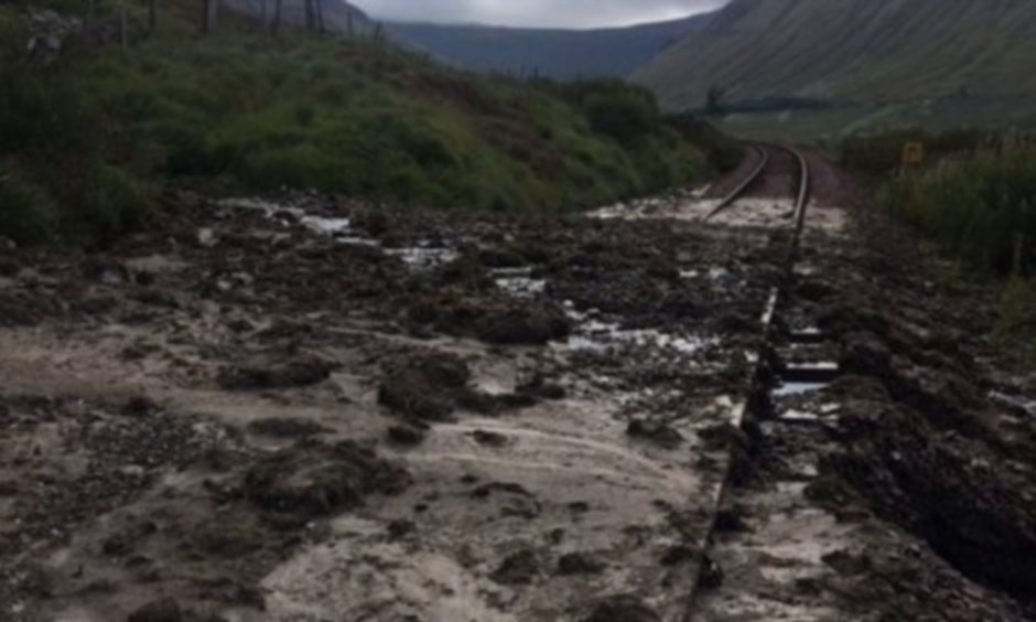 A landslip covering the track at Bridge of Orchy in September.