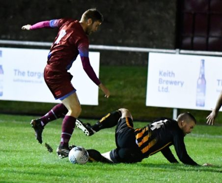 Cammy Bowden, right, is hoping Huntly can slide into the first round of the Scottish Cup