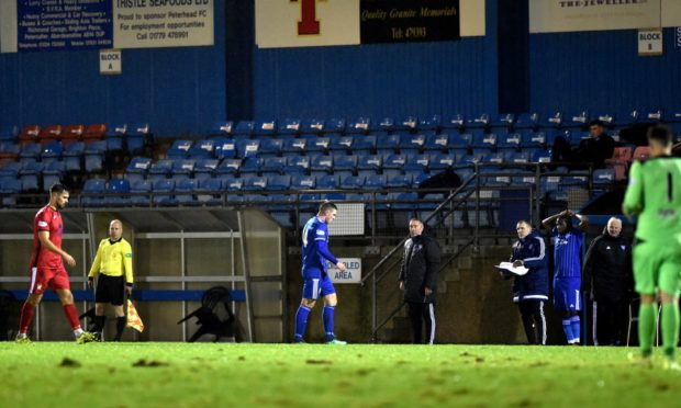Gary Fraser heads for the tunnel after being red carded against East Fife