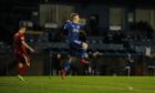 Pictured is Peterhead's Lyall Cameron celebrating after scoring against East Fife.