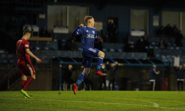 Lyall Cameron celebrates his goal for Peterhead against East Fife earlier this month