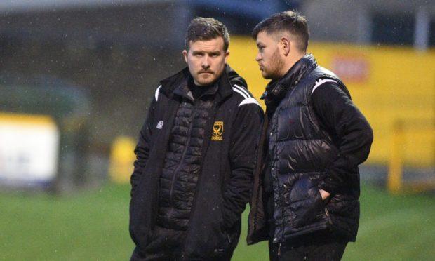 Huntly manager Allan Hale, left.