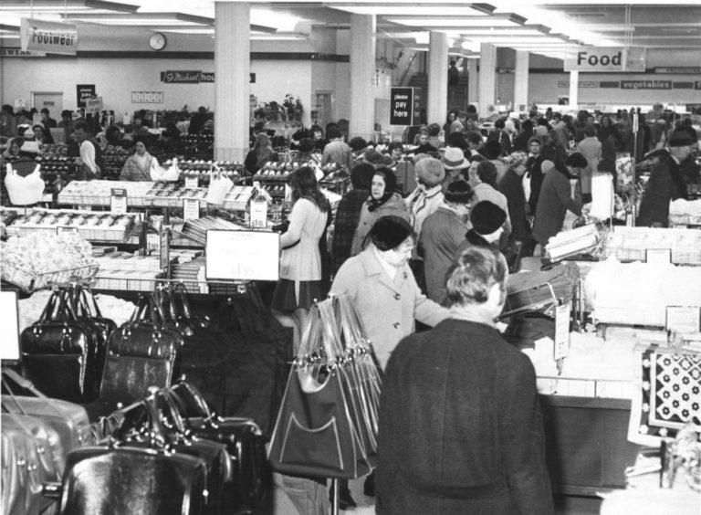 1973: The Christmas Crush at Marks and Spencer's store in Aberdeen today