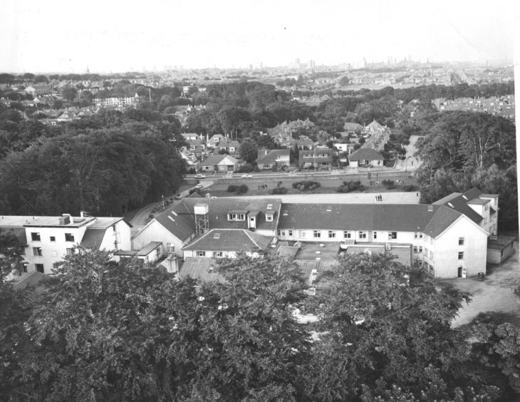 A balloon's eye view of Aberdeen with the Treetops Hotel in the foreground.