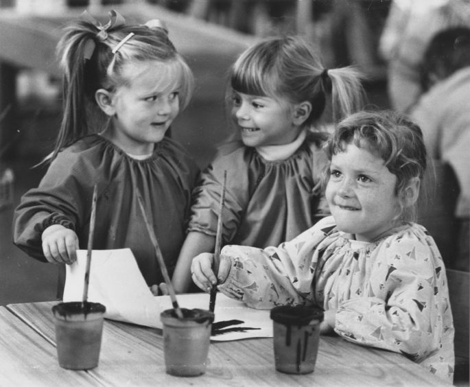 1987: Art critics Jemma Cox (left) and Cherry Alexanader [Alexander?] seem to be discussing the merits of nursery class art, but Claire Davidson just gets on with her painting.