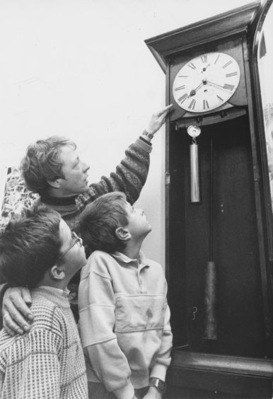 1991: Head teacher of Victoria Road Primary School, Mrs Lorna Glen, explains the workings of the school's old regulator clock to pupils Martin Smith (7), left, and eight-year-old Ryan Calder.