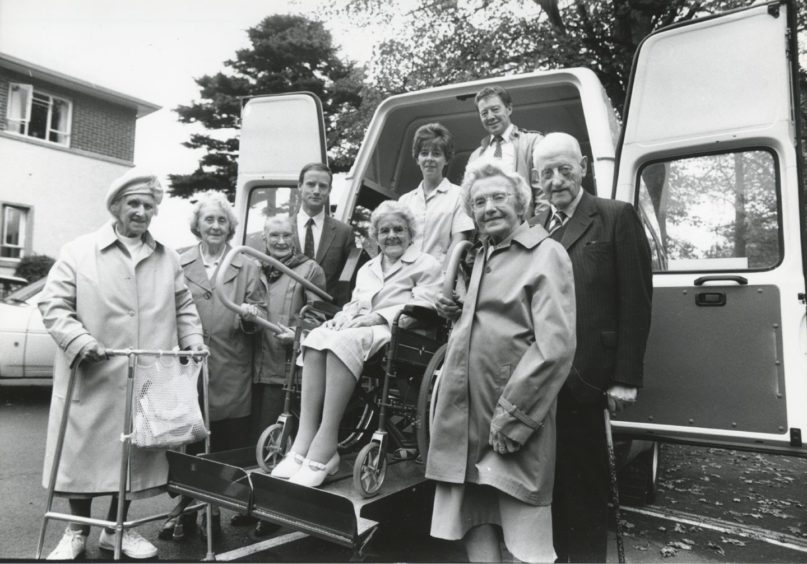 1990: Voluntary Service Aberdeen yesterday accepted a new minibus from the Winlaw Trust. The presentation was made at Forestgait Old People's Home, Aberdeen, by trustee Mr Ian Collie (centre left). Also in the picture are fellow trustee Mr George Collie (right) and volunteer driver Mr Ken Mutch (back) with some of the home's residents.