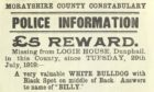 One of the wanted posters held by the Aberdeen City and Aberdeenshire Archives, looking for a missing dog called Billy.