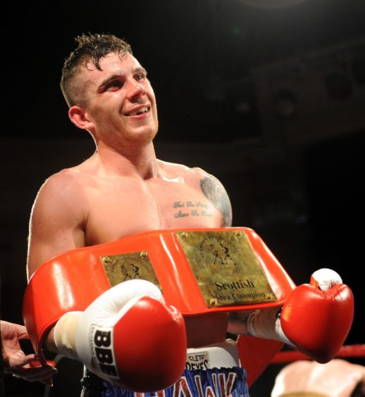 Matty after winning the Scottish Title at the Aberdeen Beach Ballroom in 2014. Picture by Darrell Benns