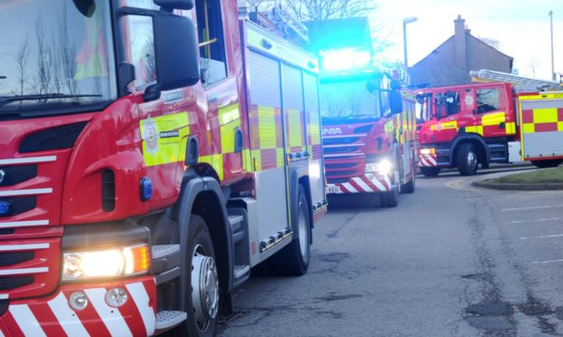 Scottish Fire and Rescue Service fire engines. Pic by Chris Sumner Taken 2/3/15