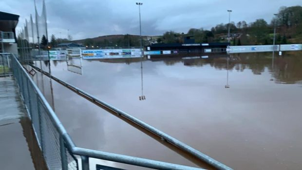 Turriff Utd's grounds at The Haughs have been flooded