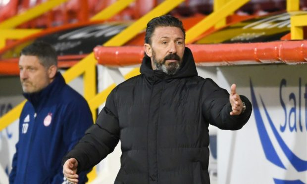 Aberdeen manager Derek McInnes during the 0-0 draw with Dundee United.