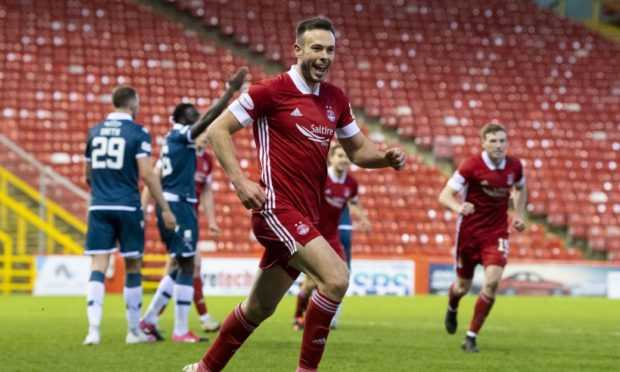 Andy Considine celebrates after putting Aberdeen 2-0 up against Motherwell.
