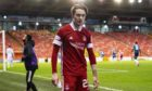 Aberdeen's Scott Wright is substituted in one of his final games for the club.