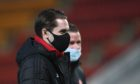 Aberdeen's Scott Wright arrives at the ground before the clash with St Johnstone.