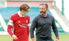 Scott Wright, left, with Aberdeen manager Derek McInnes.