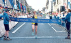 Fiona Brian winning the Great Aberdeen Run half marathon in 2019. Picture by Scott Baxter