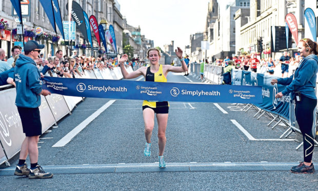 Fiona Brian winning the Great Aberdeen Run half marathon in 2019. Picture by Scott Baxter