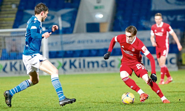 Aberdeen midfielder Scott Wright (25) during the Scottish Premiership match between St Johnstone and Aberdeen at McDiarmid Park.