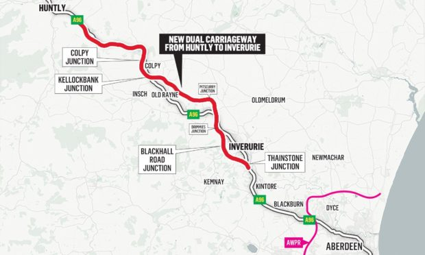 The planned route of the new-look A96.