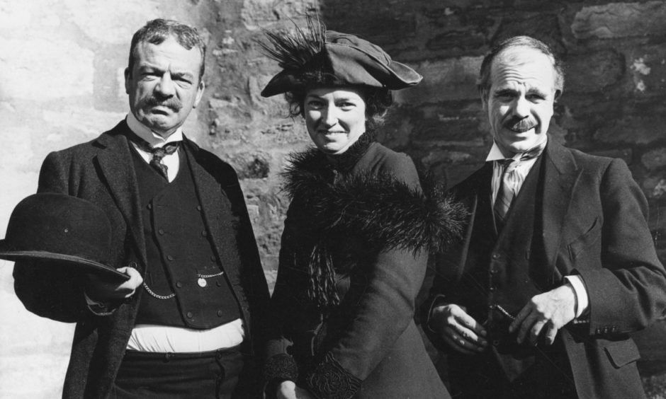 John Grieve, Jean Fitzpatrick and Alex McAvoy during filming of Sunset Song which appeared on the BBC in 1971.