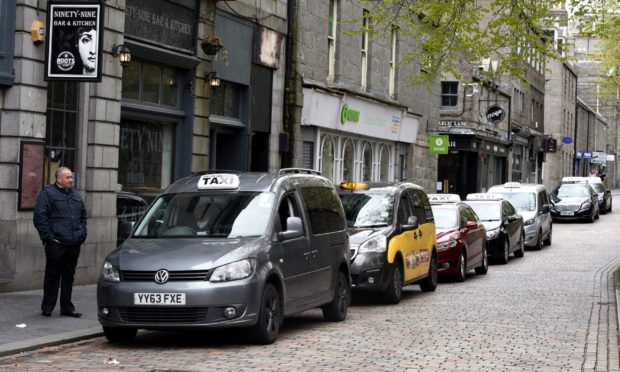 The taxi rank on Aberdeen's Back Wynd