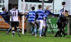 Fraserburgh score their winning goal against Banks o' Dee in the second round of the Scottish Cup