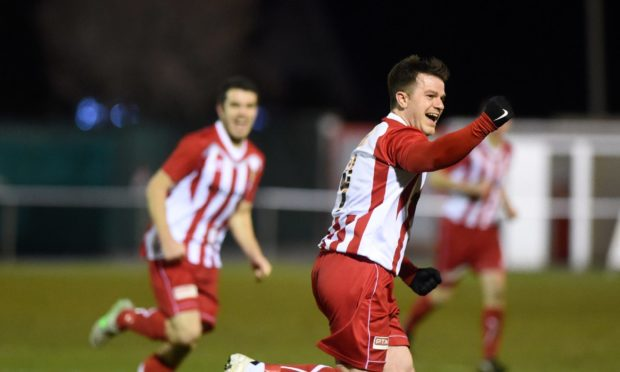 Formartine's Conor Gethins celebrates after scoring.