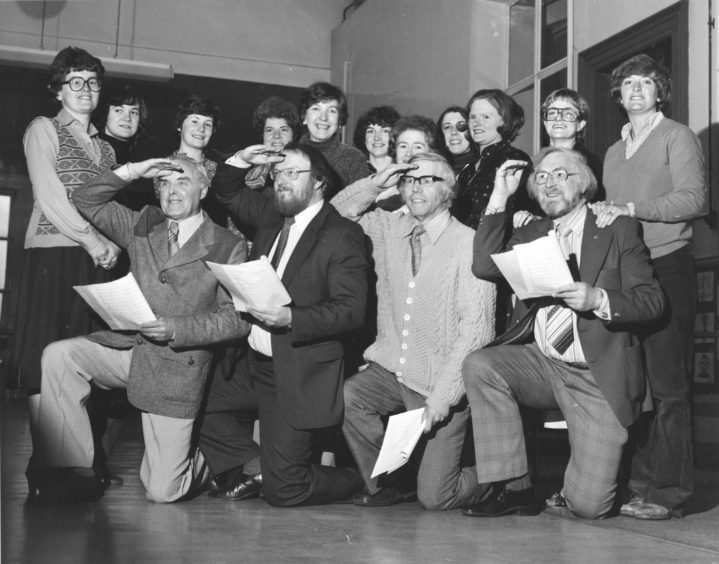 1980: Man - this could be your big chance to be a singing or dancing star. The Aberdeen company Pro Arte are staging the musical Cabaret in the Beach Ballroom in November, but they have a problem - their membership has dropped to 30, including nine men. They hope to get back up to 50 shortly, but they are especially looking for more male singers and dancers. So, come on chaps, if you can sing or dance a bit, get in touch with chairman Tom Clarkson, at Aberdeen 322292. Our picture shows (left to right) Tom Clarkson, Ian MacNay, Norman McDonald and Eric Coutts outnumbered nearly three to one at rehearsals.