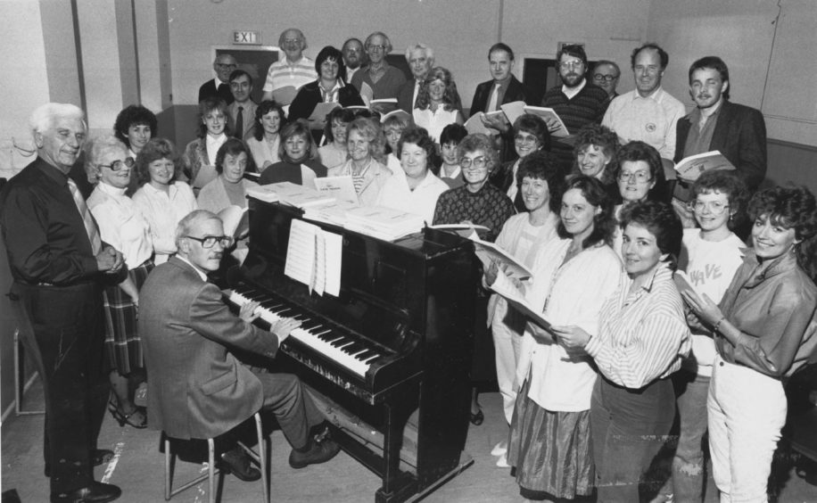 1987: ready for their forthcoming winter of rehearsals for The New Moon by Sigmund Romberg are members of Pro Arte with pianist Mr Leslie Bodie, their new associate musical director Mr Locke Nicholson (left) and musical director Mrs Kathleen Stuart (second left).  The company have grown to about 50 members in recent years. ''We realised that another person was required to concentrate on the musical direction of principal parts,'' said chairman Mr Bill Stuart. ''We are very pleased to secure the services of Locke Nicholson. Mr Nicholson is the former principal teacher of music at Summerhill Academy and is well known in North-East music circles. He is a trustee of the International Youth Festival and is chairman of Deeside Choristers.