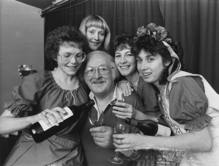 1988: The lucky fellow surrounded by these lovely lasses is secretary and founder member of Pro Arte, Eric Coutts, who with (left to right), Linda Smith, Sheena Cushnie, Geraldine McCann and Caroline Roots) are all set for anniversary celebrations when they take the stage at Aberdeen Arts Centre next week for their production of The New Moon.