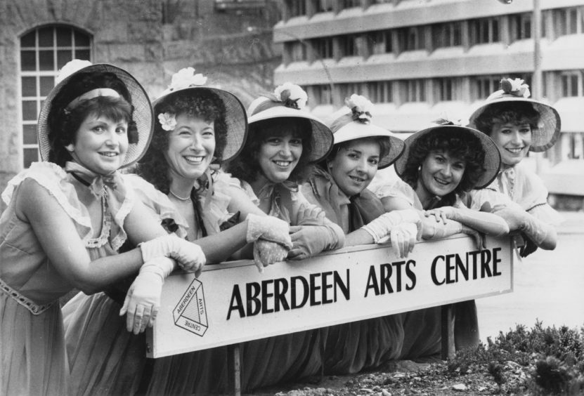 1988: Some of the cast of Pro Arte Theatre Group's production of Sigmund Romberg's musical romance, The New Moon, pose outside Aberdeen Arts Centre where Romberg's sequel to The desert Song will be performed from tomorrow until Saturday. From left: Heather Brown, Alice Kriger, Kerry Donald, Linda Neil, Alison Main and Dianne Bannerman. All are from Aberdeen except Kerry who is from Oldmeldrum.