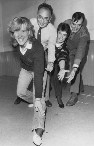 1988: Getting into shape for their next production, Magyar Melody, are three members of Pro Arte with Alan Nicol (second left) doing the coaching on stagecraft. They are (from left to right) Maureen Buchan, Roz Ellis and Michael Newns. The new session started with a workshop in Hanover Street School, Aberdeen, and publicity convener Douglas Nisbet said that as a musical company they required to develop skills in drama and were fortunate that Alan Nicol assisted with this project.  Mr Nisbet said there were still some vacancies for singers in the production, due to be staged in the spring, and anyone interested should attend on Monday nights at 7.30 or contact Eric Coutts, 39 Justice Street, Aberdeen