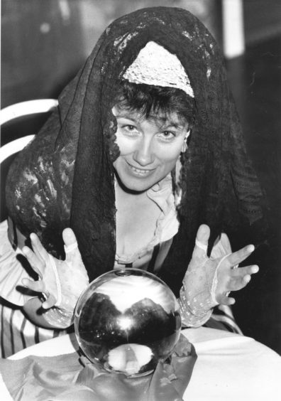 1990: Roz Ellis who plays the fortune teller in the Pro Arte production of the Jerome Kern musical Showboat at the Arts Centre, Aberdeen, from tonight until Saturday predicts an evening of magic for all who come to watch.