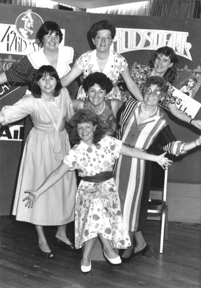 1990: Some of the cast ready to start the Pro Arte cabaret. Back (left to right): Gill Johnston, Alice Gall and Maureen Buchan. Middle: Tricia Miller, Gaynor O'Neill and Betty Davie. At the front is Hilary Esson.