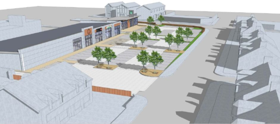 Artist impression showing a revamp on Inverurie's town centre. The health centre will be knocked down to make way for new shops and a Starbucks drive-thru.