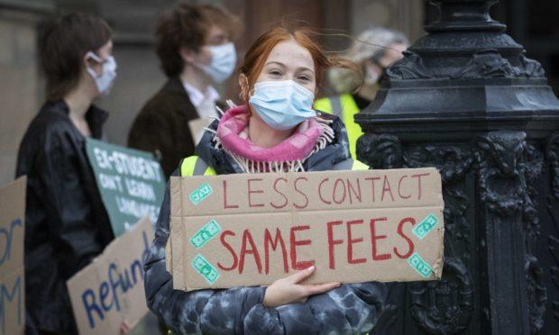 Students protest outside the McEwan Hall in Bristo Square, Edinburgh.