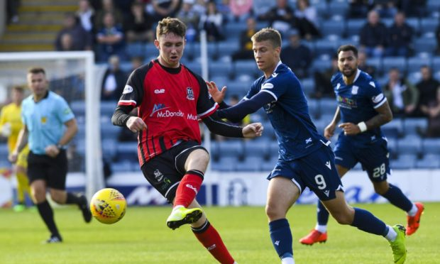 Andrew McDonald, left, in action for former club Elgin City against Dundee