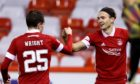 Aberdeen's Ryan Hedges (right) celebrates scoring his side's third goal of the game with teammate Scott Wright in the 6-0 defeat of Runavik.