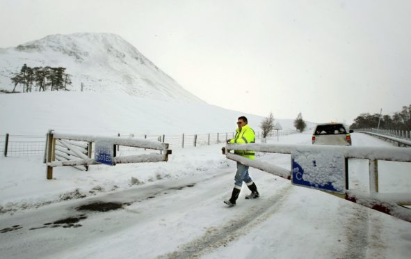SNOW: A road is closed off following adverse weather
