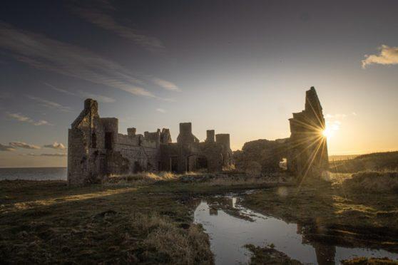Slains Castle near Cruden Bay, Aberdeenshire.