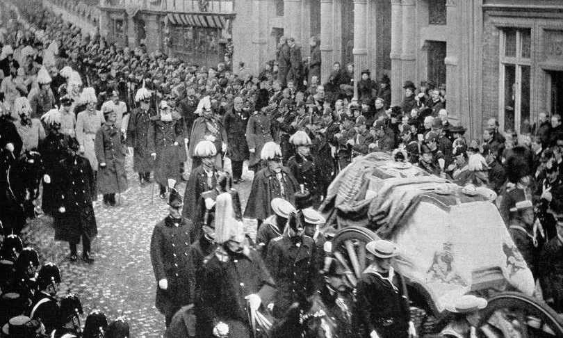 The funeral of Queen Victoria in 1901.