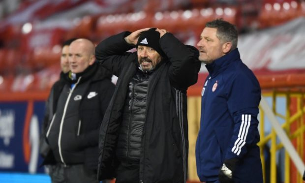 Aberdeen manager Derek McInnes during the  2-0 Scottish Premiership defeat to Livingston at Pittodrie.