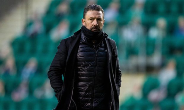 Aberdeen manager Derek McInnes at full-time after the loss at Easter Road.