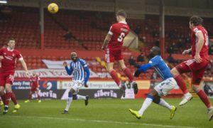 Aberdeen's Callum Hendry scores the opening goal from a Niall McGinn free-kick to end Aberdeen's scoring drought.