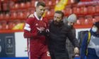 Aberdeen manager Derek McInnes and Florian Kamberi at full-time after the Kilmarnock game.