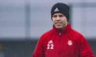 Florian Kamberi during an Aberdeen training session at Cormack Park.